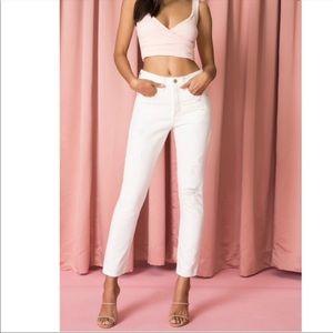 Levi's 501 White Skinny Distressed Jeans